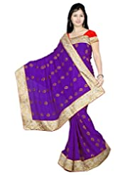 Alethia Violet Chiffon & Jacquard Hand Work Embroidered Sarees With Unstitched Blouse
