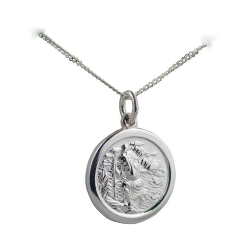 Silver 18mm round St Christopher with Curb chain