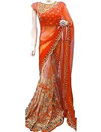 Ara Cruz Women'S Georgette Saree With Blouse Piece (Gn-Orange_Orange Beige)