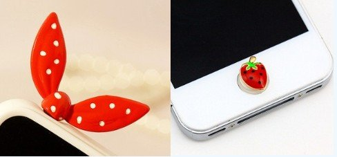 Blingy'S Red 3.5Mm Metal Polka Dot Rabbit Ears Earphone Jack Accessory/ Dust Plug / Ear Jack For For Iphone/ Samsung / Ipad / Ipod Touch That Also Comes With A Cute Strawberry Home Button Sticker(Twist Lightly To Insert Or Remove To Prevent Damage)