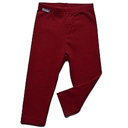 Unisex kids warm fall winter leggings pants fleece lined (3T, Maroon Red)