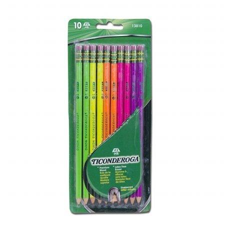 Dixon Ticonderoga Company DIX13810 Ticonderoga Neon Wood Pencils 10Pk - 1