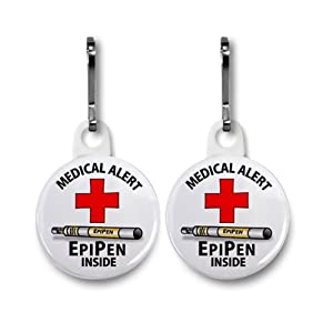 EPIPEN INSIDE Medical Alert 2-Pack White 1 inch Zipper Pull Charms from Creative Clam