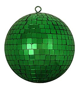 "Christmas Green Mirrored Glass Disco Ball Christmas Ornament 8"" (200mm)"