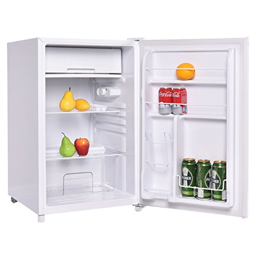 Costway Compact Single Reversible Door Mini Refrigerator and Freezer Office Home, 4.4 Cubic Feet, White (2 Door Mini Fridge With Freezer compare prices)