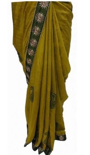 AIKA Green Color Pure Bhagalpuri Silk Saree With Unstitch Bloues