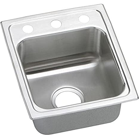 Elkay LR15173 3-Hole Gourmet Lustertone Stainless Steel 15-Inch x 17-1/2-Inch Self-Rimming Single Basin Kitchen Sink