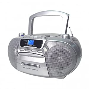 Supersonic SC-727 Portable CD Player with Cassette/Recorder & AM/FM Radio- Silver