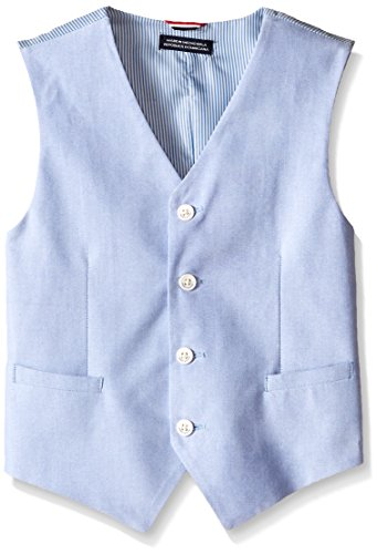 Tommy Hilfiger Big Boys' Yard Dye Oxford Suit Vest, Medium Blue, 10 Regular