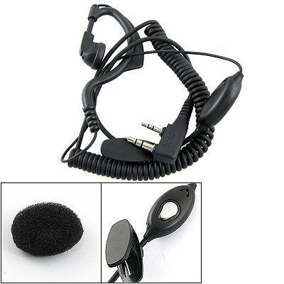 Gino Ear Hanger PTT Mic Earphone Headset Blk for Kenwood TK