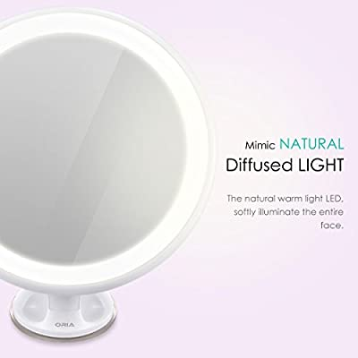 Best Cheap Deal for Oria 7x Magnifying Makeup Mirror, LED Makeup Mirror (Wall-Mount), LED illuminated Vanity Mirror with Locking Suction cup + 360° Rotating + USB Charge for Makeup, Dressing & Traveling by Oria - Free 2 Day Shipping Available