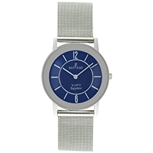 Men's Round Silvertone Sartego Seville Watch Blue Dial