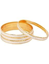 The Jewelbox Diamond Nakshi Gold Rhodium Plated Kada Bangle Set Of 4 For Women