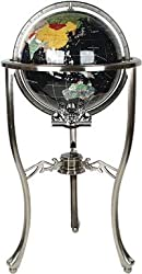 "37"" Floor Standing Black Onyx Gemstone Globe with Silver Stand"