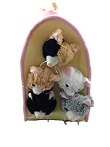 Plush Cat House with Cats - Five (5) Stuffed Animal Cats in Play Kitten House Carrying Case