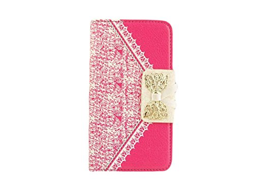 """Queens® Luxury Brand Designer Sweet Bowtie & Ribbon Pu Leather Stand Diamond Bowknot Wallet Case Cover For Iphone 6 (5.5"""") Case Wallet Flip Cover With Card Slot&Strap For Apple Iphone6 5.5 Inch And Clearly Screen Protector With Touch Pen (1-Hot Pink)"""