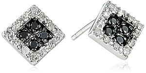 10k White Gold Square White and Black Diamond Earrings (1/5 cttw, I-J Color, I2-I3 Clarity)