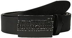 Buffalo Men's Casual Belt with Raised Logo Plaque Buckle, Black, Medium