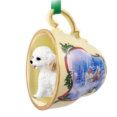 Cockapoo White Tea Cup Sleigh Ride Holiday Ornament (Set of 3)