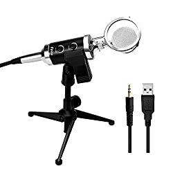 Fifine 3.5mm recording Condenser Studio computer Microphone Podcast for pc laptop with Sound Echo Adjust. Ideal for Broadcasting Studio, Voice-over Sound, Recording ,Karaoke Singing, Audio Chat
