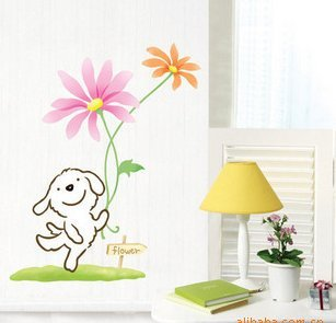 Happy Dog Cartoon Bedroom Background Stickers front-1064549