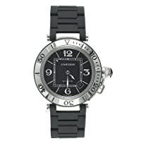 Cartier Men's W31077U2 Pasha Seatimer Automatic Stainless Steel and Rubber Watch by Cartier
