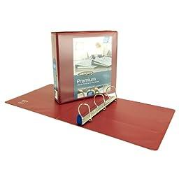 Wilson Jones Premium Single-Touch Locking D-Ring View Binder, 2 Inch, Customizable, Dark Red (W86672PP)
