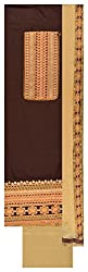 Royal Women's Cotton Unstitched Dress Material (Brown and Beige)