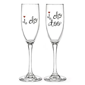 Hortense B. Hewitt Champagne Toasting Flutes Wedding Accessories, I Do and I Do Too, Set of 2