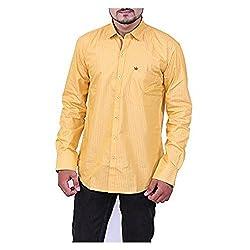 Austrich Men's Casual Shirt (11006_Yellow_38/39)