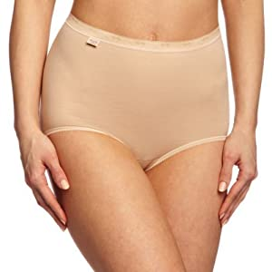 3pk Cream Sloggi Basic Maxi Briefs (M (UK 14))