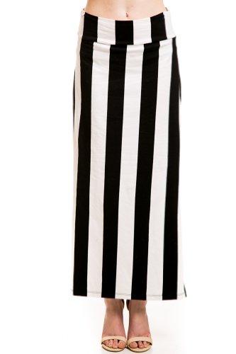 Prison Stripe Slit Skirt in Black/White