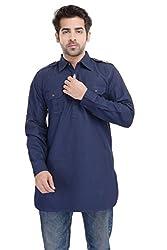 Padam Men's Pathani Kurta_PMKR0022_Indigo Blue_M