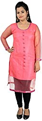 NelNik Women's Net Kurta (Nel031_Medium, Pink, Small)