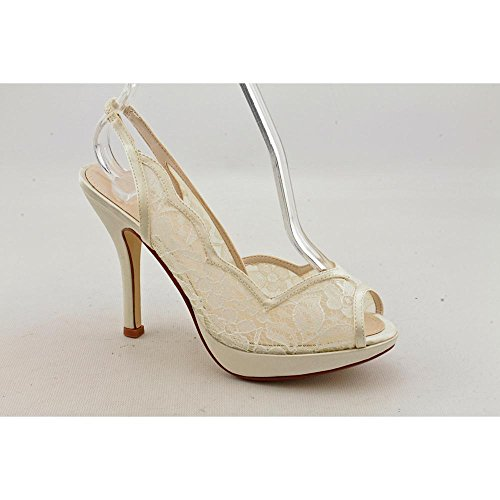 Caparros Astrin Women'S Ivory Satin Peep Toe Pump Sandal Dress Shoe Size 10