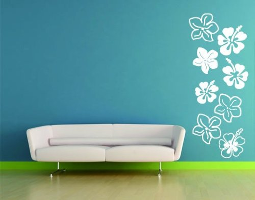 Best Quality Vinyl Wall Sticker Decals - Hibiscus Flowers ( Size: 31in x 77in - Color: violet ) - No: 2186