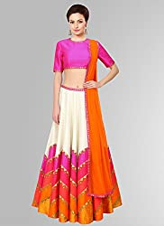 A BEAUTY STYLE HUNGAMA SILK MULTI COLOURED LEHENGA CHOLI WITH SPECIAL DIVALI ADDITION AND SPECIAL FOR NAVRATRI ALSO WITH DIGITAL PRINT