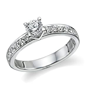 Diamond Engagement Ring in 14K Gold / White Certified, Round, 0.69 Carat, E Color, SI3 Clarity
