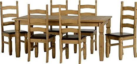 Seconique Corona 6ft Esszimmerstuhl Set, aus gewachstem Kiefernholz/braun Kunstleder