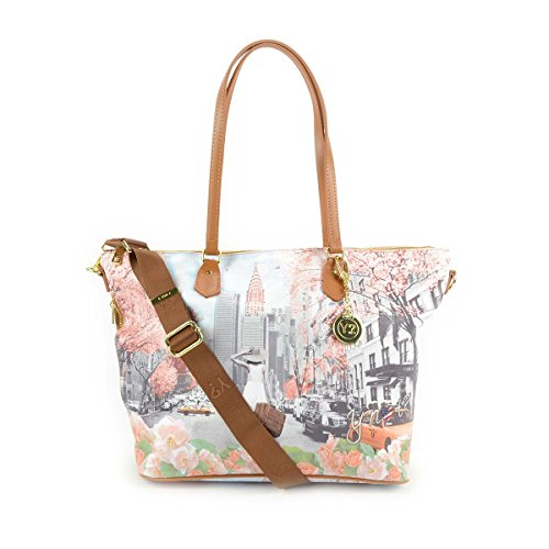 Y Not Borsa donna Shopping grande con tracolla stampa Spring in New York - F397