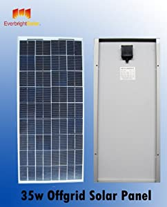 35 Watt Solar Panel 12 Volt for Battery Charging, Off Grid Solar Panel