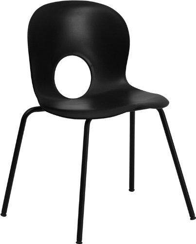 Flash Furniture Rut-Nc258-Bk-Gg Hercules Series 400-Pound Designer Black Plastic Stack Chair With Black Powder Coated Frame front-18180
