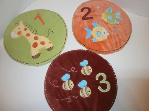 3 Pc Tiddliwinks Whimsical Velour Wall Art 1 2 3 Fish Giraffe Bees