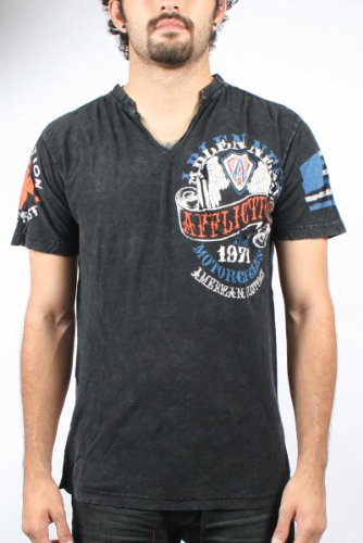 Affliction - Mens Arlen Ness Seal Slit Neck T-Shirt In Black Lava Wash, Size: X-Large, Color: Black Lava Wash