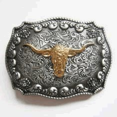 Golden Long Horn Bull Western Belt Buckle