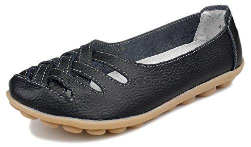 Kunsto Womens Leather Loafer Shoes Slip on US Size 8.5 Black