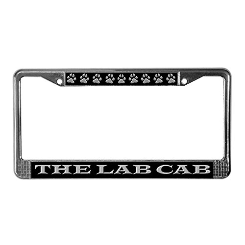 CafePress - Black Lab Cab License Plate Frame - Chrome License Plate Frame, License Tag Holder (Lab License Plate Frame compare prices)