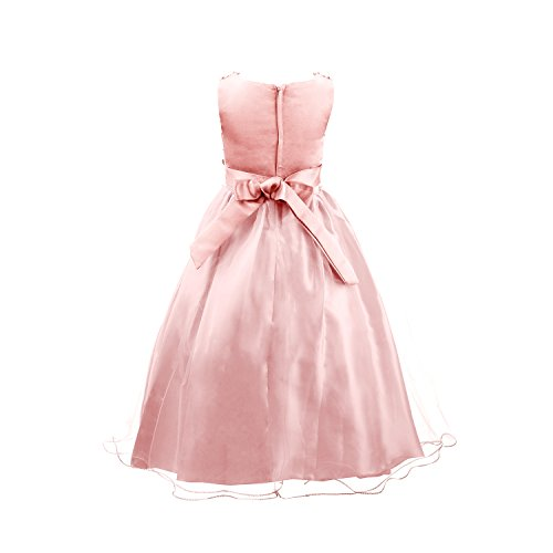 Acediscoball Big Girls'Flower Party Wedding Gown Bridesmaid Tulle Ruffle Dress Size US 8/8-9years Pink
