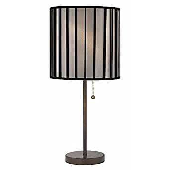 contemporary bronze table lamp with pull chain and drum. Black Bedroom Furniture Sets. Home Design Ideas