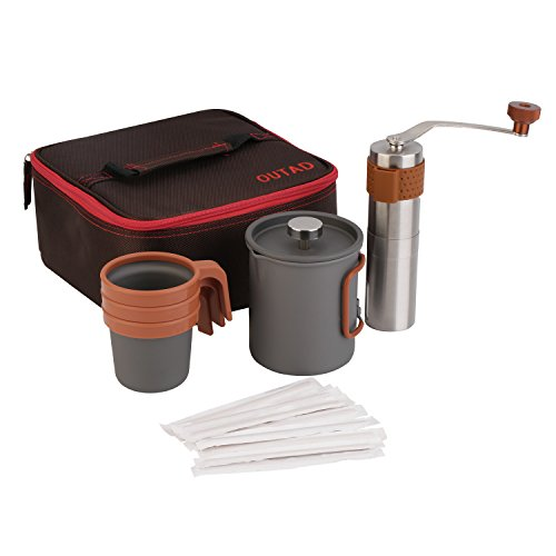 OUTAD Portable Coffee Maker Set (20fl.oz French Press Coffee Maker | Manual Coffee Grinder | 3 x 10fl.oz Mugs | Carry Bag)